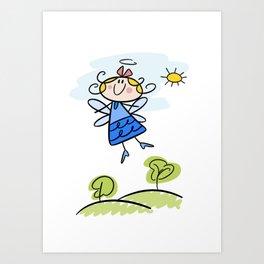 Happy Flying Angel Illustration Art Print