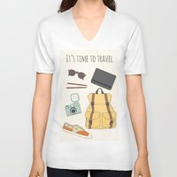 backpack V-neck T-shirts featuring It's Time to Travel by Helga Wigandt