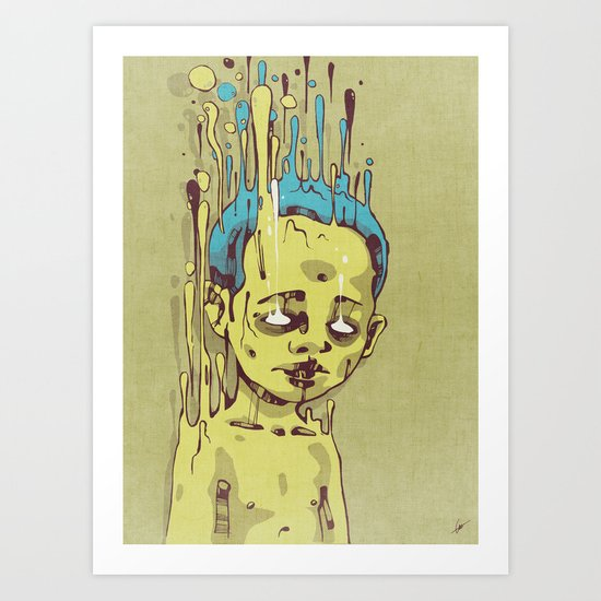 The Golden Boy with Blue Hair Art Print