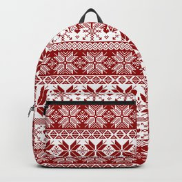 Red Winter Fair Isle Pattern Backpack