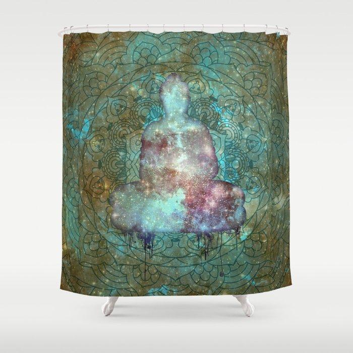 Watercolor Mandala Buddha In Galaxy Shower Curtain