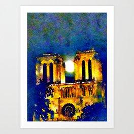 Notre Dame de Paris Full Moon Art Print