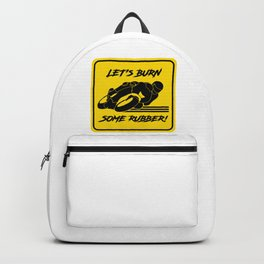 Lets Burn some Rubber! High Speed Motorcycle Racer Yellow Caution Backpack
