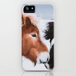 Icelandic Horses in Winter Landscape of Iceland iPhone Case