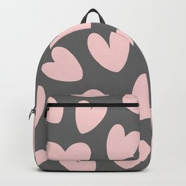 Valentine's Day Pink Gray Romantic Hearts Backpack