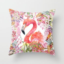 Flamingo in Tropical Flower Jungle Throw Pillow