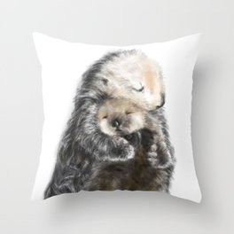 Sea Otter Mom and Baby Art Throw Pillow