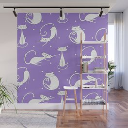French Cats - Purple Wall Mural