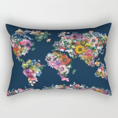 world map floral Rectangular Pillow
