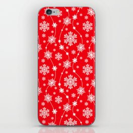 Christmas Red Snowflake Pattern iPhone Skin