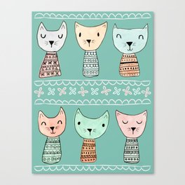 Kokeshi Kitties with Teal Background Canvas Print