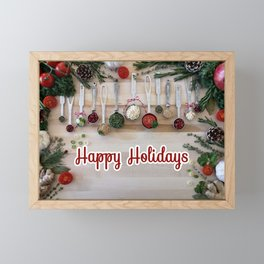 Happy holidays with spoons Framed Mini Art Print