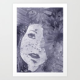 Lack Of Interest: Silver (graffiti dark lady with daisies) Art Print