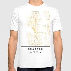SEATTLE WASHINGTON CITY STREET MAP ART MEDIUM White Mens Fitted Tee
