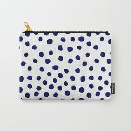Mini dots painterly brushstrokes boho modern indigo blue and white preppy nautical dorm college art Carry-All Pouch