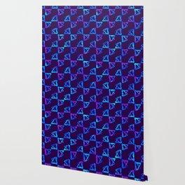 Blue brush watercolor cool print Wallpaper