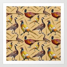 Vintage brown orange colorful pheasant birds pattern Art Print