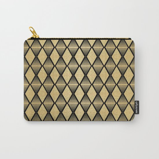 Black and Gold Geometric Pattern Carry-All Pouch