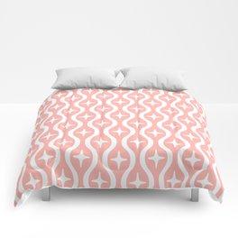 Mid century Modern Bulbous Star Pattern Peach Comforters