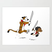 hobbes Art Prints featuring Bonifacio and Hobbes by Cesar Cueva