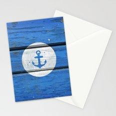 Nautical White Anchor on Vintage Blue Wood Panels Stationery Cards