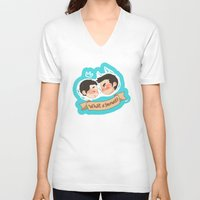 sterek V-neck T-shirts featuring sterek by oh, wolves