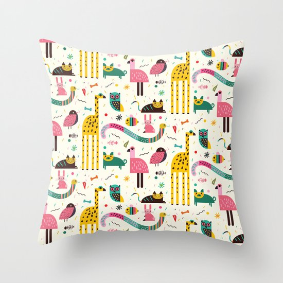 Animals Can Party Too! Throw Pillow