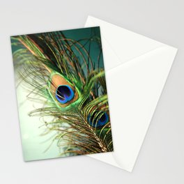 peacock feather-teal Stationery Cards