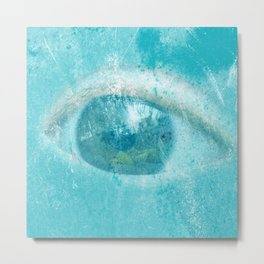 Human eye in blue metal pattern Metal Print