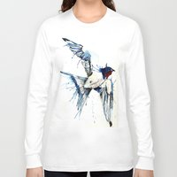 swallow Long Sleeve T-shirts featuring My Swallow by Meg Ashford