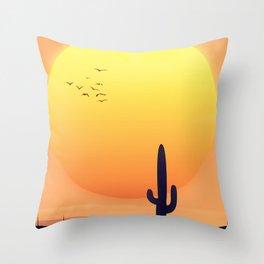 Desert Landscape setting sun. Throw Pillow