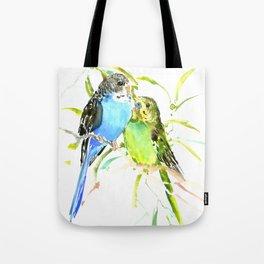 Budgies, love bird green blue decor Tote Bag