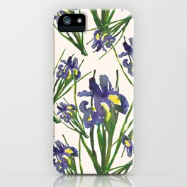 Exotic purple dutch iris flower pattern design iPhone Case