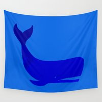 the whale Wall Tapestries featuring Whale by Good Sense