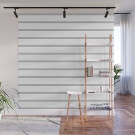 Horizontal Lines (Silver/White) Wall Mural