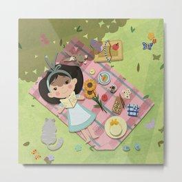 Little Girl Having an Afternoon Tea Metal Print