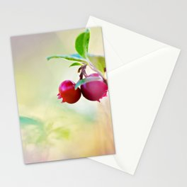 Macro shot of cowberry in forest Stationery Cards