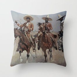 """Frederic Remington Western Art """"Mexican Riders"""" Throw Pillow"""