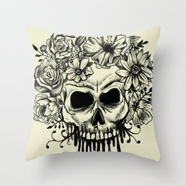 Skull & Flowers Gothic Grunge Punk Throw Pillow
