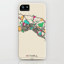 Colorful City Maps: Istanbul, Turkey iPhone Case