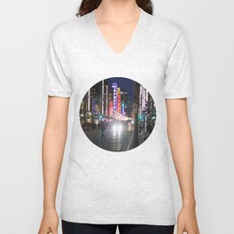 Granville St after dark 1 Unisex V-Neck