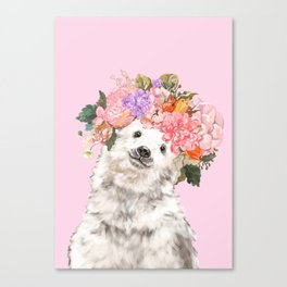 Baby Polar Bear with Flowers Crown Canvas Print