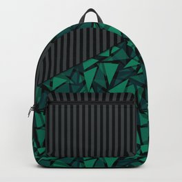 Abstract black green geometric pattern Backpack