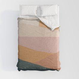 Landscape sunset mid century art Comforters
