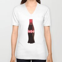 coke V-neck T-shirts featuring Coke-Man by colleencunha