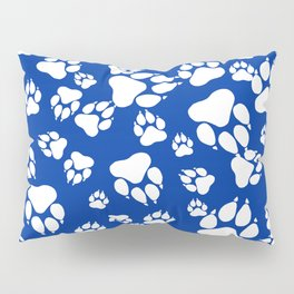 Blue and White Wildcats Paw Print Pattern Digital Design Pillow Sham