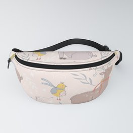 Christmas Deer and Bird Fanny Pack