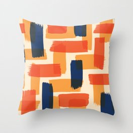 Abstract brush strokes illustration pattern with retro color Throw Pillow