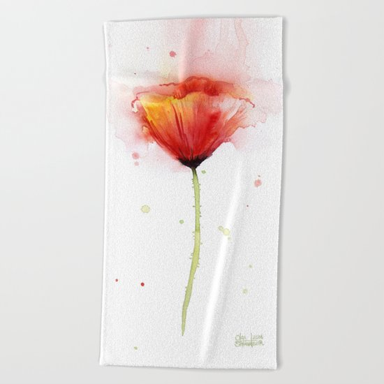 Poppy Flower Watercolor Abstract Red Poppies Floral Painting Flowers Beach Towel
