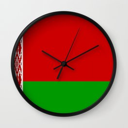 flag of belarus-belarusian,Minsk,Homyel,russia,snow,cold,chess,bear,rus,wheat,europe,easthern europe Wall Clock